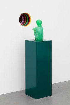 "JIM LAMBIE  Vortex 'Love Song"", 2012    MDF, full gloss paint, and hand-blown glass (Loredano Rosin sculpture, Murano, Italy, circa 1980)   46 1/4 x 10 x 17 3/4 inches (installation)   Courtesy Anton Kern Gallery, New York   (AK# 8742)"