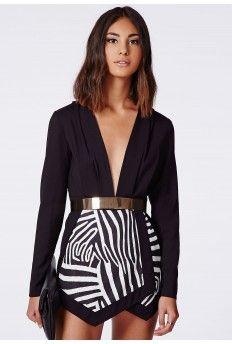 b8eabaa5de Antonia Zebra Print Skort Romper Black Missguided Jumpsuit