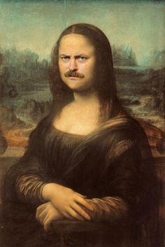 Here's Ron Swanson As The Mona Lisa
