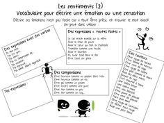 Vocabulaire les sentiments Core French, French Class, Vocabulary Instruction, Education Positive, French Grammar, Cycle 3, French Resources, Les Sentiments, Feelings And Emotions