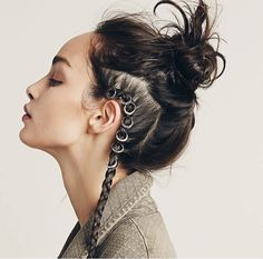 Love this hair style and the hair rings