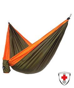 Just Relax Single Portable Lightweight Camping Hammock With KISH Bug Repellent 106x5 Feet GreenOrange -- Check this awesome product by going to the link at the image.
