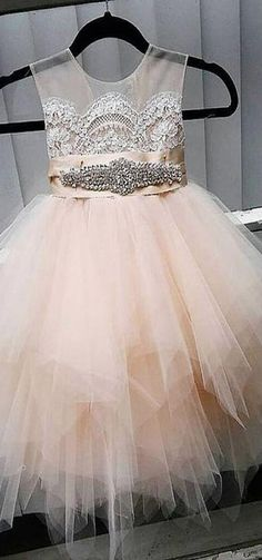 Cute Tulle Jewel Neckline Tea-length Ball Gown Flower Girl Dresses With Lace Appliques