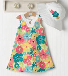 Janie & Jack - Poolside Palms 3/28/11 Little Girl Skirts, Cute Girl Dresses, Little Girl Dresses, Baby Girl Fashion, Kids Fashion, Pinafore Pattern, Moda Kids, Baby Dress Design, Girl Dress Patterns