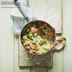 Asparagus and hot-smoked salmon risotto recipe