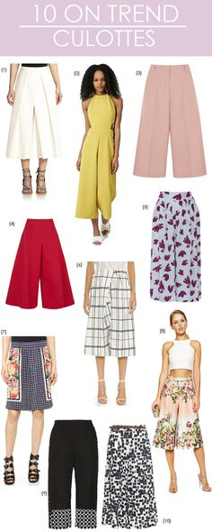 Culottes are this season's hottest pants! Take a look at these top 10 picks from the trend. Fashion Line, Fashion 101, Fashion Pants, Couture Fashion, Fashion Outfits, Fashion Trends, How To Wear Culottes, Culottes Outfit, Cute Summer Outfits