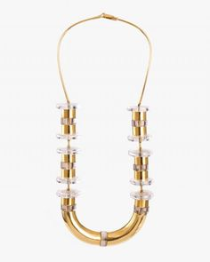Ettore Sottsass [Italian, Necklace, 1967 Gold and white quartz Length on neck: 10 inches Unique. Modern Jewelry, Jewelry Art, Gold Jewelry, Jewelery, Jewelry Design, White Quartz, Architect Design, 18k Gold, Bling