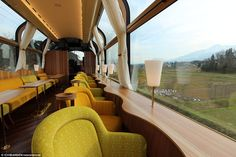 View to a thrill: The train features armchair-style seating that faces out towards the mountains nearby. the real japan, real japan, train, trains, bullet train, shinkansen, monorail, nozomi, sakura, tram, japan, japanese, rail, travel, tour, local, jr, rail pass, railpass, japan rail, tour, trip, journey, explore, adventure, vacation, holiday http://www.therealjapan.com/subscribe
