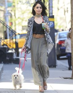 Stroll: Vanessa Hudgens was spotted taking her pet dog, Darla, for a walk in New York City on Monday