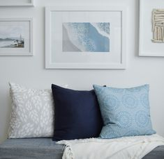 The Tess Monochrome and Mendocino pillows by Harbor Theory make the perfect pair in a coastal style living room or dining room seating nook. With a navy pillow to blend the two, a calm, sophist Decor, Living Room Designs, Interior, Dining Room Seating, Pillows, Coastal Style Living Room, Breakfast Nook Bench, Room, Coastal Interiors Design