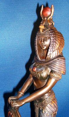 Black Egyptian Goddess Isis Statue Warrior Goddess with Shield