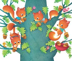 The Showcase: Federica Iossa Kawaii Illustration, Children's Book Illustration, Fairy Tales For Kids, Character Design Animation, Craft Stick Crafts, Drawing For Kids, Cute Drawings, Art Lessons, Squirrels