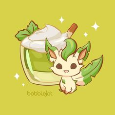 Illustrator Of Cute Things — Eeveelution Dessert Series: Leafeon Matcha. Pokemon Fan Art, All Pokemon, Giratina Pokemon, Pokemon Eevee Evolutions, Bulbasaur, Cute Animal Drawings, Kawaii Drawings, Cute Drawings, Manga Pokémon