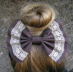 Hair Bow - Chocolate Brown and Lace Fabric, barrette for teens and women,french barrette, hair bows bow hair clip big bow hair clip Lace Bows, Ribbon Bows, Fabric Bows, Lace Fabric, Cotton Fabric, Braided Hairstyles, Cool Hairstyles, Teenage Hairstyles, Diy Hair Accessories