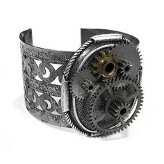 Steampunk Jewelry Cuff Vintage Gun Metal GEAR WHEELS Wide Lattice Cuff... ($200) ❤ liked on Polyvore featuring jewelry, bracelets, steampunk, steam punk jewelry, vintage bangle, vintage jewellery, cuff jewelry and steampunk jewellery