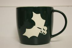 Brand New! 2011 Starbucks Coffee Christmas Holly Xmas Green Ceramic 14oz Mug