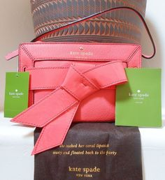 """AUTHENTIC (NWT) Kate Spade BOW VALLEY KAI Leather Bow Clutch - """"Strawberry Daiquiri"""" - $220"""