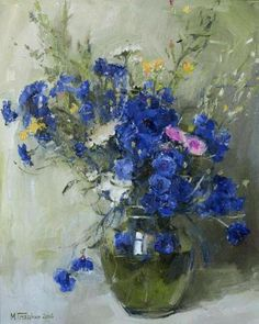 Art painting wonderful still life by Gladko Maxim- love the bachelor buttons  ... blue with a splash yellow and white ...