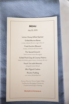 Menu. Amazing photos by @Josh Strauss Studios from our pop up dinner on July 22. Southern Italian Food and Ambiance. Yum!