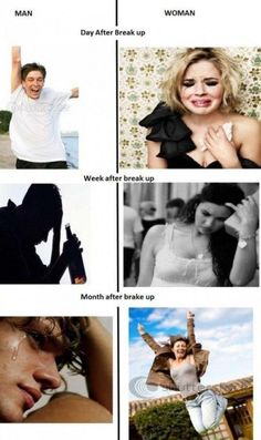 Guys vs girls breakup -- HAHA IDK if this is how it is for guys but this is definitely how it is for me :P Single life FTW
