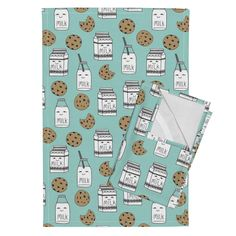 Orpington Tea Towels featuring milk and cookies // mint food kids nursery baby kids by andrea_lauren | Roostery Home Decor