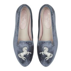 BLUE VELVET WITH BLUE TRIM AND UNICORN EMBROIDERY French Soles