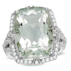 Cushion-Cut Green Quartz and Lab-Created White Sapphire Ring in Sterling Silver - Size 7