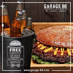Have a beer bonding with Dad and check out Garage88 Father's Day Promo!  Get 1 FREE Bucket of Beer for every order of 12 Wheeler Burger at Garage88 branches at BGC, Katipunan and at Parañaque.  Promo valid until June 19, 2016.  http://mypromo.com.ph/