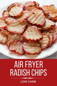 Low Carb Keto Air Fryer Radish Chips – MamaShire These Low Carb Keto Air Fryer Radish Chips are easy to make and so tasty. These radish chips make a great side dish or enjoy as a savory snack. Air Fryer Recipes Low Carb, Air Fryer Dinner Recipes, Easy Dinner Recipes, Breakfast Recipes, Easy Dinners For Two, Easy Healthy Dinners, Easy Healthy Recipes, Best Healthy Diet, Healthy Diet Plans