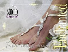 Barefoot Sandals, Enchanted, footless, foot jewelry, beach, wedding, rhinestone, silver ivory | SJ3
