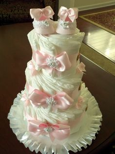 Three Tier Pink and White Diaper Cake with by TheCarriageShoppe, $60.00