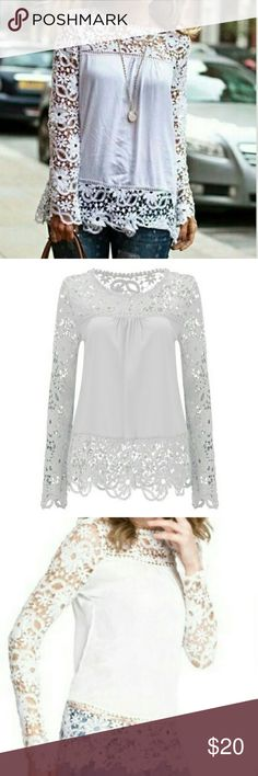 "NWT Women long sleeve embroidery lace crochet Super cute Women Sheer Sleeve Embroidery Lace Crochet Chiffon Blouse.   Material: Chiffon Fabric Type: Polyester Collar: U-Neck  Bust: from Amp to Amp 22"" flat Waist: 24"" flat Lenght: 29""   This blouse don't have size tag nor care tag. Never used. No brand. Tops Blouses"