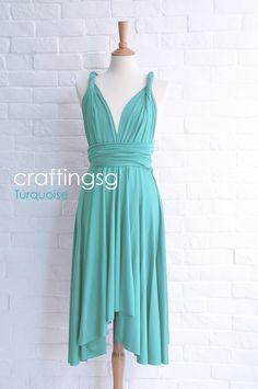 Bridesmaid Dress Infinity Dress Turquoise Knee Length Wrap Convertible Dress Wedding Dress
