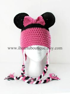 Minnie Mouse inspired crochet hat, wanna make one like this love it