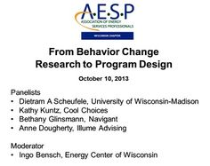 "AESP WI's panel with Dietram Scheufele, Kathy Kuntz, Bethany Glinsmann and Anne Dougherty, moderated by Ingo Bensch, ""From Behavior Change Research to Program Design"" is now available on video! http://www.ecw.org/aespbehavior"