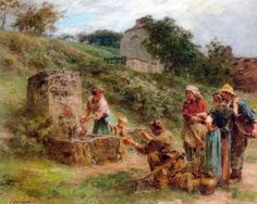 At the fountain :: Leon-Augustin L'hermitte  - village life