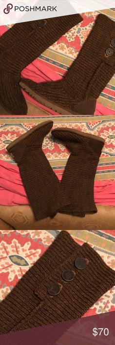 UGG sweater boot 💛 Offers Welcome!! Great condition. Chocolate brown UGG boot. Can be worn two ways. I've worn them a handful of times over the time that I've had them. I'll clean the bottom of the boots before shipping. No frays anywhere in the material. UGG Shoes Winter & Rain Boots