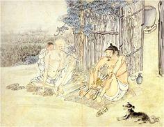 """""""성하직구"""" 김득신 조선시대 풍속화  익살스러운 강아지의 표정이 꼭 옛날 그림들의 용의 얼굴을 보는 듯"""