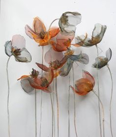 Metal Flowers Michelle Mckinney Artist - All About Organza Flowers, Fabric Flowers, Paper Flowers, Diy Flowers, Crazy Quilting, Inspiration Art, Art Inspo, Art Floral, Creation Art
