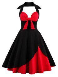 Halter Two Tone Vintage Dress