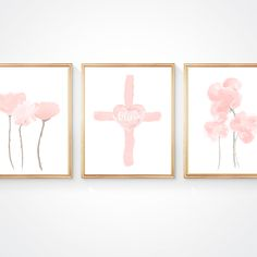 Cross Print for Baby, Set of with Flowers Pink Watercolor, Watercolor Paintings, Blush Nursery, The Fragile, Baby Set, Linen Pillows, All Print, Flower Prints, Wall Art