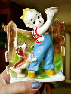 Charming 1940's Girl and Dog at Feeding Time Vase or Planter by dazzledbyvintage on Etsy