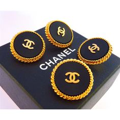 CHANEL Buttons, Vintage, Authentic Very Rare, Black, Gold Tone Metal,... ($42) ❤ liked on Polyvore featuring jewelry, hand made jewellery, vintage handmade jewelry, handmade jewellery, vintage jewelry and handmade jewelry