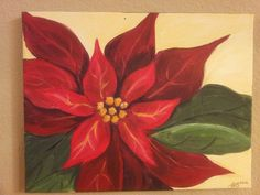 Acrylic poinsettia painting