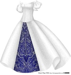 Silvery Princess Gown at Liana's Paper Dolls. Full post, printable PDFs at the site! http://lianaspaperdolls.com/2014/09/19/silver-princess-gown-with-blue-and-rhinestone-underskirt/