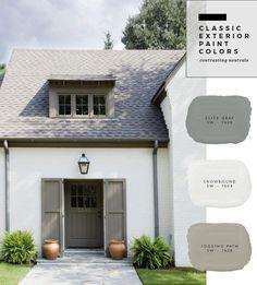 Ideas House Colors Outside Paint Home Exteriors White Exterior Paint, White Exterior Houses, Exterior Paint Colors For House, Paint Colors For Home, Outside House Paint Colors, Exterior Paint Ideas, Brick Paint Colors, Stucco Exterior, Exterior Shutters