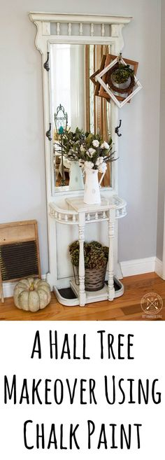 A hall tree makeover using chalk paint! Click through to see how it looked before as well as the tutorial and supplies used to transform it!