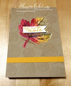 Lavender Thoughts | Annette Sullivan | Stampin' Up! Vintage Leaves Curry Covered Notebook