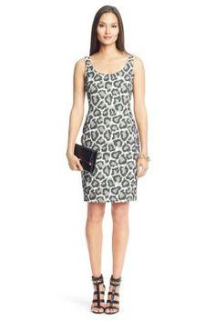 Arianna Leopard Combo Scoop Neck Dress