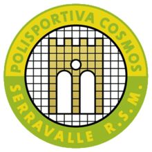 1979, S.S. Cosmos (Serravalle, San Marino) #SSCosmos #Serravalle #SanMarino (L13501) Football Team Logos, Soccer Logo, Cosmos, Manchester United, Badge, Mustang, Soccer, Palm Plants, Hs Sports